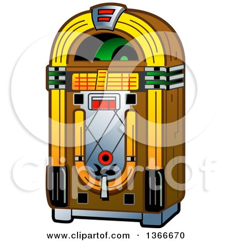 Clipart Of A Retro Vintage Jukebox Machine Royalty Free Vector Illustration