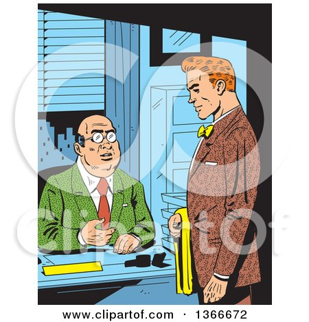 Clipart of a Retro Comic Styled Red Haired Caucasian Businessman Meeting with His Boss - Royalty Free Vector Illustration by Clip Art Mascots