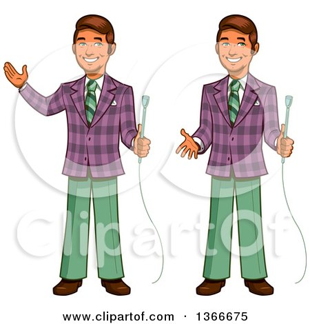 Clipart of a Cartoon Happy Retro Male Game Show Host Shown Holding a Microphone, Gesturing and Presenting - Royalty Free Vector Illustration by Clip Art Mascots