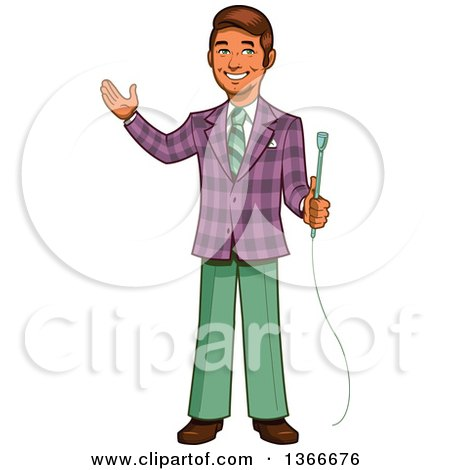 Clipart of a Cartoon Happy Retro Male Game Show Host Holding a Microphone and Presenting - Royalty Free Vector Illustration by Clip Art Mascots