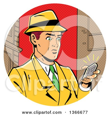Clipart of a Retro Caucasian Man in a Fedora Hat and Yellow Suit, Holding a Ringing Smart Phone - Royalty Free Vector Illustration by Clip Art Mascots