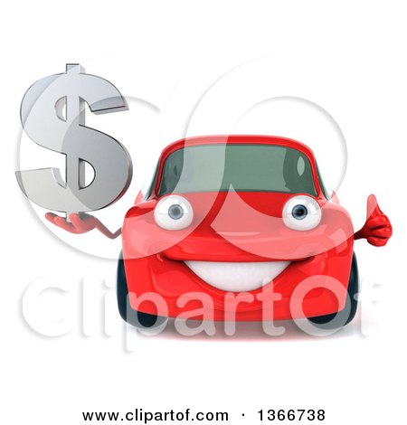 Clipart of a 3d Happy Red Porsche Car Holding a Thumb up and Dollar Currency Symbol - Royalty Free Illustration by Julos