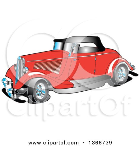 Clipart of a Red Antique 1934 Coupe Car - Royalty Free Vector Illustration by Andy Nortnik
