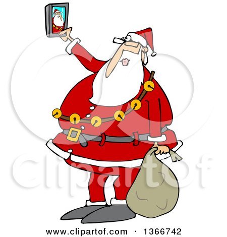 Clipart Of A Cartoon Christmas Santa Claus Taking A Selfie With A Smart Phone Royalty Free Vector Illustration