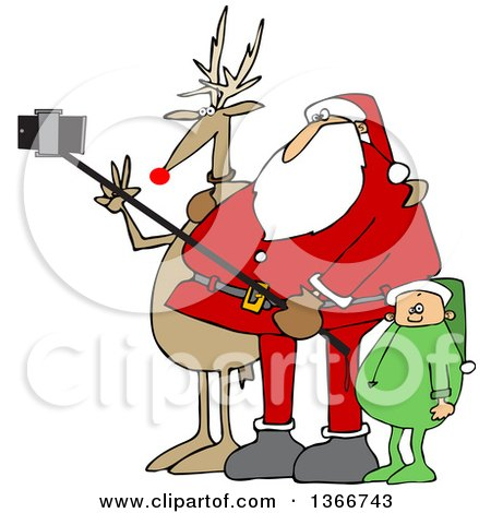Clipart Of A Cartoon Christmas Santa Claus Elf And Rudolph The Red Nosed Reindeer Taking A Picture With A Smart Phone And Selfie Stick Royalty Free Vector Illustration