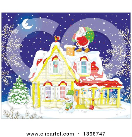 Clipart of Santa on a Roof Top on a Snowy Christmas Eve Night - Royalty Free Vector Illustration by Alex Bannykh