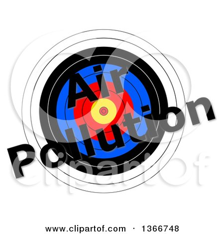 Clipart of a Target with Air Pollution Text over It, on a White Background - Royalty Free Illustration by oboy