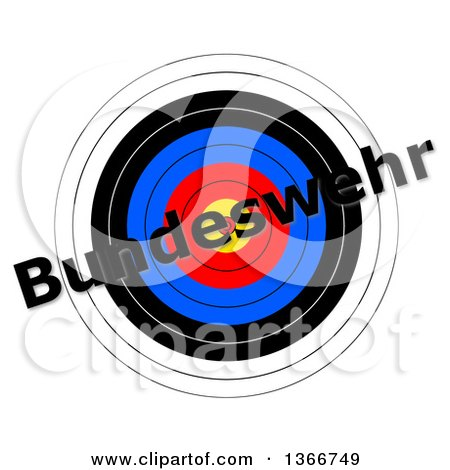 Clipart of a Target with Bundeswehr Text over It, on a White Background - Royalty Free Illustration by oboy