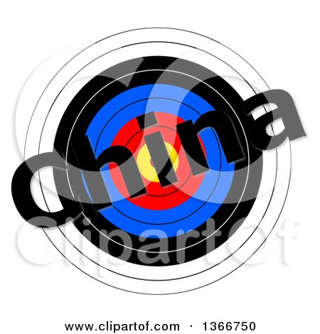 Clipart of a Target with China Text over It, on a White Background - Royalty Free Illustration by oboy