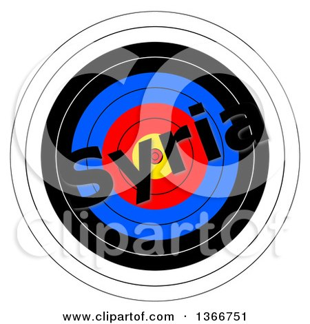 Clipart of a Target with Syria Text over It, on a White Background - Royalty Free Illustration by oboy