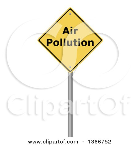 Clipart of a 3d Yellow AIR POLLUTION Warning Sign, on White - Royalty Free Illustration by oboy