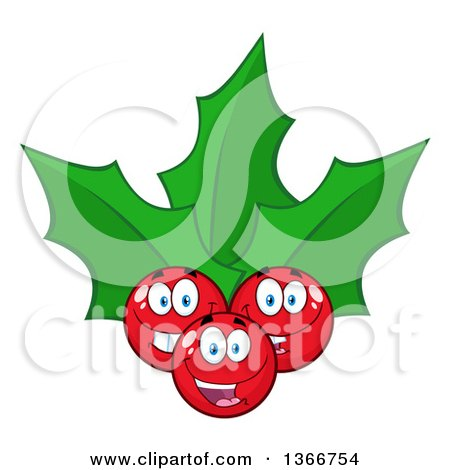 Clipart of a Cartoon Christmas Holly Berry and Leaves Character - Royalty Free Vector Illustration by Hit Toon