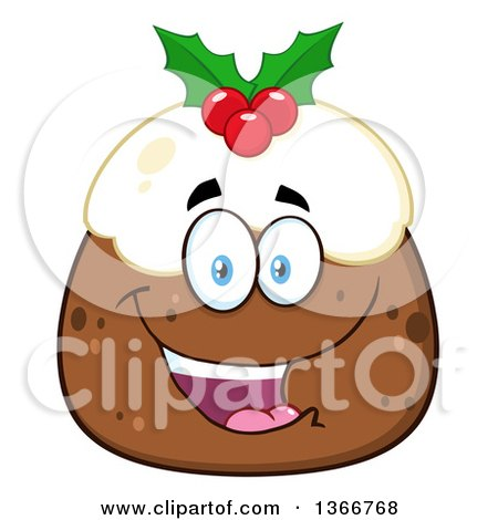 Clipart of a Cartoon Happy Christmas Pudding Character - Royalty Free Vector Illustration by Hit Toon