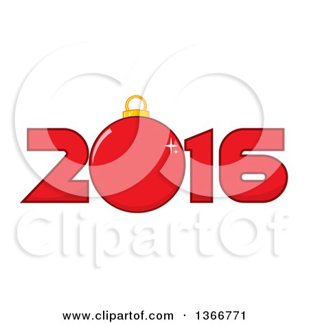 Clipart of a Cartoon Red Bauble Ornament in a New Year 2016 - Royalty Free Vector Illustration by Hit Toon