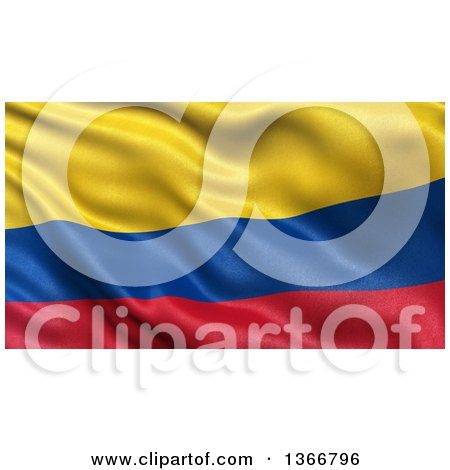 Clipart of a 3d Rippling Flag of Colombia - Royalty Free Illustration by stockillustrations
