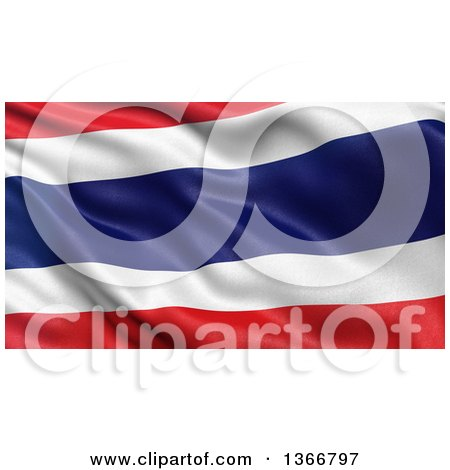 Clipart of a 3d Rippling Flag of Thailand - Royalty Free Illustration by stockillustrations