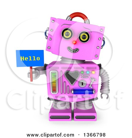 Clipart of a 3d Retro Pink Female Robot Smiling, Tilting Her Head to the Side and Holding a Hello Sign, on a White Background - Royalty Free Illustration by stockillustrations