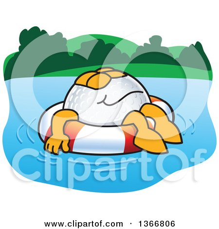 Clipart of a Golf Ball Sports Mascot Character Floating on a Life Buoy, Water Hazard - Royalty Free Vector Illustration by Toons4Biz