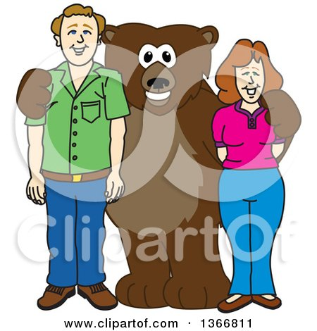 Clipart of a Grizzly Bear School Mascot Character Posing with Parents - Royalty Free Vector Illustration by Toons4Biz