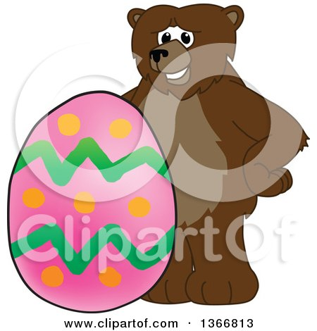 Clipart of a Grizzly Bear School Mascot Character with an Easter Egg - Royalty Free Vector Illustration by Toons4Biz