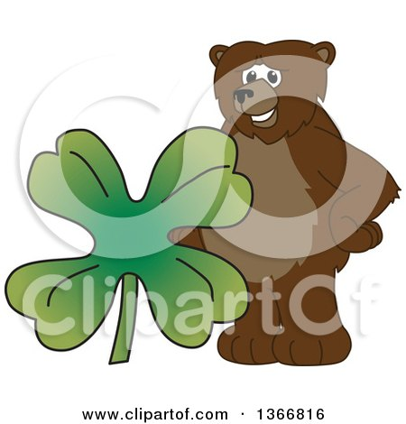 Clipart of a Grizzly Bear School Mascot Character with a Four Leaf St Patricks Day Clover - Royalty Free Vector Illustration by Toons4Biz