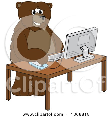 Clipart of a Grizzly Bear School Mascot Character Using a Desktop Computer - Royalty Free Vector Illustration by Toons4Biz