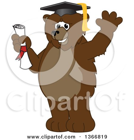 Clipart of a Grizzly Bear School Mascot Character Graduate Holding a Diploma and Waving - Royalty Free Vector Illustration by Toons4Biz