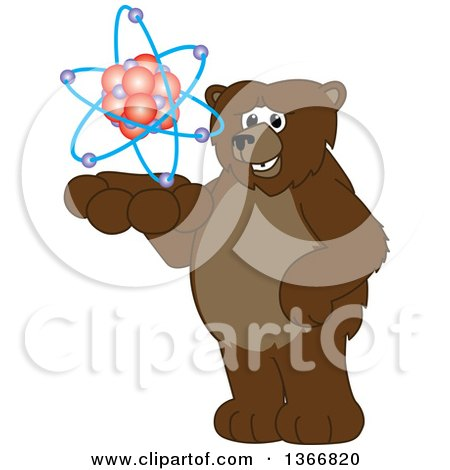 Clipart of a Grizzly Bear School Mascot Character Holding an Atom - Royalty Free Vector Illustration by Toons4Biz
