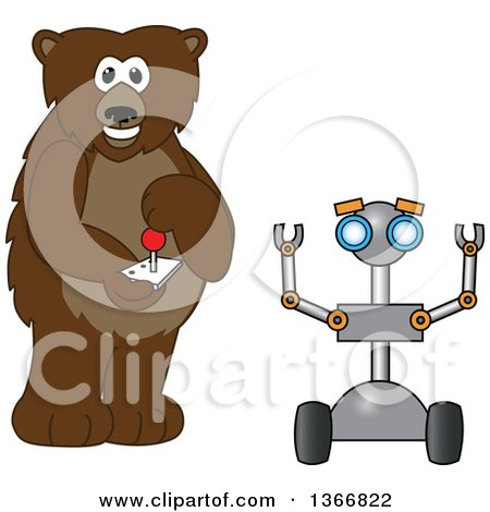 Clipart of a Grizzly Bear School Mascot Character Controlling a Robot - Royalty Free Vector Illustration by Toons4Biz