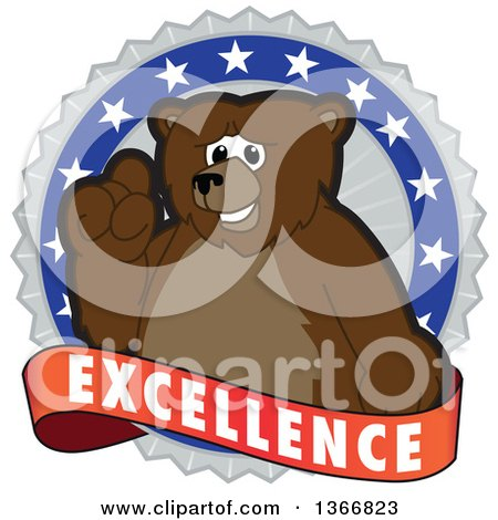 Clipart of a Grizzly Bear School Mascot Character on an Excellence Badge - Royalty Free Vector Illustration by Toons4Biz