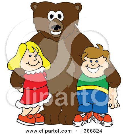 Clipart of a Grizzly Bear School Mascot Character Posing with Students - Royalty Free Vector Illustration by Toons4Biz