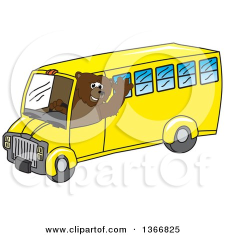 Clipart of a Grizzly Bear School Mascot Character Waving and Driving a Bus - Royalty Free Vector Illustration by Toons4Biz