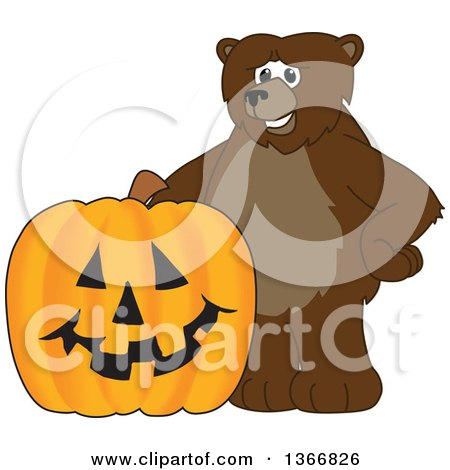 Clipart of a Grizzly Bear School Mascot Character with a Halloween Jackolantern Pumpkin - Royalty Free Vector Illustration by Toons4Biz