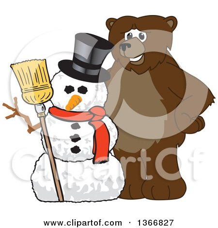 Clipart of a Grizzly Bear School Mascot Character with a Christmas Snowman - Royalty Free Vector Illustration by Toons4Biz