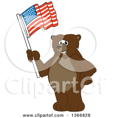 Clipart of a Grizzly Bear School Mascot Character Waving an American Flag - Royalty Free Vector Illustration by Toons4Biz