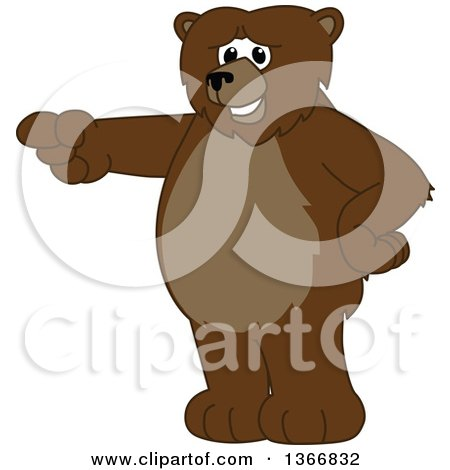 Clipart of a Grizzly Bear School Mascot Character Pointing - Royalty Free Vector Illustration by Toons4Biz