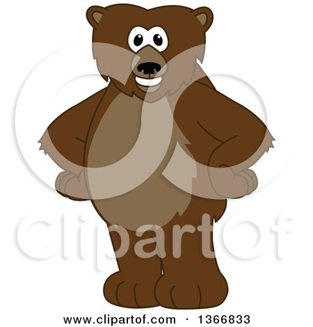 Clipart Of A Grizzly Bear School Mascot Character Standing With His Hands On His Hips Royalty Free Vector Illustration