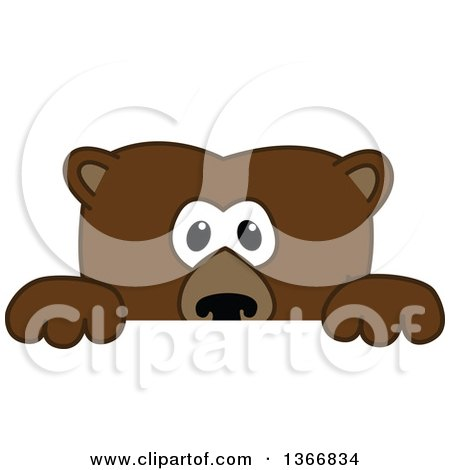 Clipart of a Grizzly Bear School Mascot Character Looking over a Sign - Royalty Free Vector Illustration by Toons4Biz
