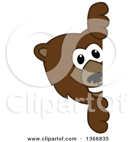 Clipart of a Grizzly Bear School Mascot Character Looking Around a Sign - Royalty Free Vector Illustration by Toons4Biz