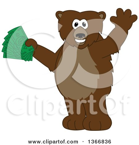 Clipart of a Grizzly Bear School Mascot Character Waving and Holding Cash Money - Royalty Free Vector Illustration by Toons4Biz