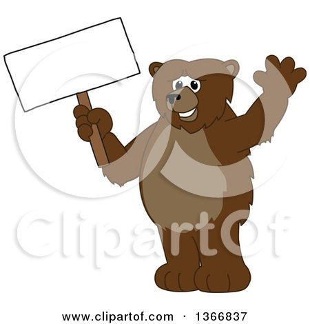 Clipart of a Grizzly Bear School Mascot Character Waving and Holding a Blank Sign - Royalty Free Vector Illustration by Toons4Biz