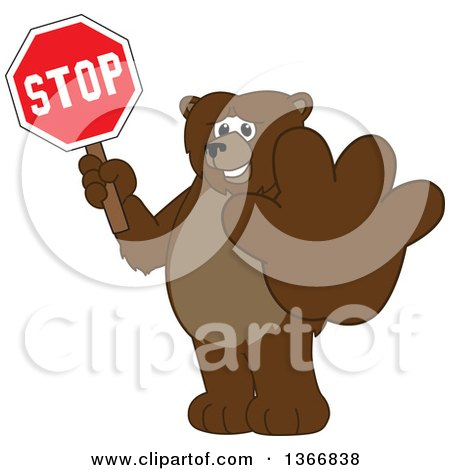 Clipart of a Grizzly Bear School Mascot Character Holding out a Paw and a Stop Sign - Royalty Free Vector Illustration by Toons4Biz
