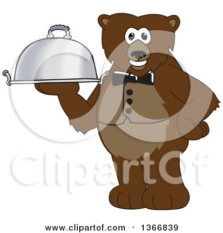 Clipart of a Grizzly Bear School Mascot Character Waiter Holding a Cloche Platter - Royalty Free Vector Illustration by Toons4Biz