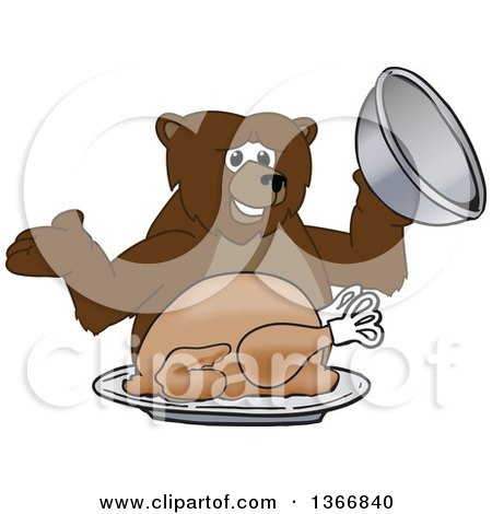 Clipart of a Grizzly Bear School Mascot Character Serving a Roasted Thanksgiving Turkey - Royalty Free Vector Illustration by Toons4Biz