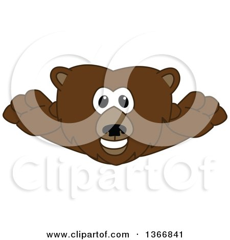 Clipart of a Grizzly Bear School Mascot Character Leaping Forward - Royalty Free Vector Illustration by Toons4Biz