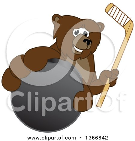 Clipart of a Grizzly Bear School Mascot Character Grabbing a Puck and Holding a Hockey Stick - Royalty Free Vector Illustration by Toons4Biz