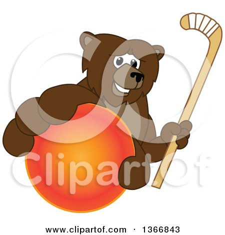 Clipart of a Grizzly Bear School Mascot Character Grabbing a Ball and Holding a Hockey Stick - Royalty Free Vector Illustration by Toons4Biz