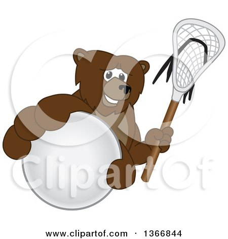 Clipart of a Grizzly Bear School Mascot Character Grabbing a Ball and Holding a Lacrosse Stick - Royalty Free Vector Illustration by Toons4Biz