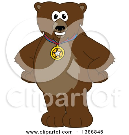 Clipart of a Grizzly Bear School Mascot Character Wearing a Sports Medal - Royalty Free Vector Illustration by Toons4Biz