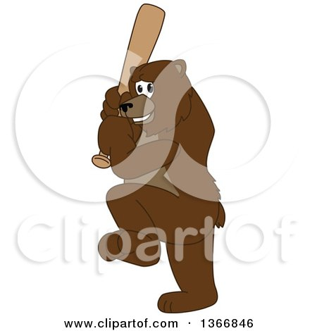 Clipart of a Grizzly Bear School Mascot Character Ready to Swing a Baseball Bat - Royalty Free Vector Illustration by Toons4Biz